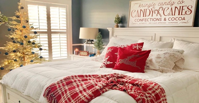 Traditional bedroom decorated for Christmas.