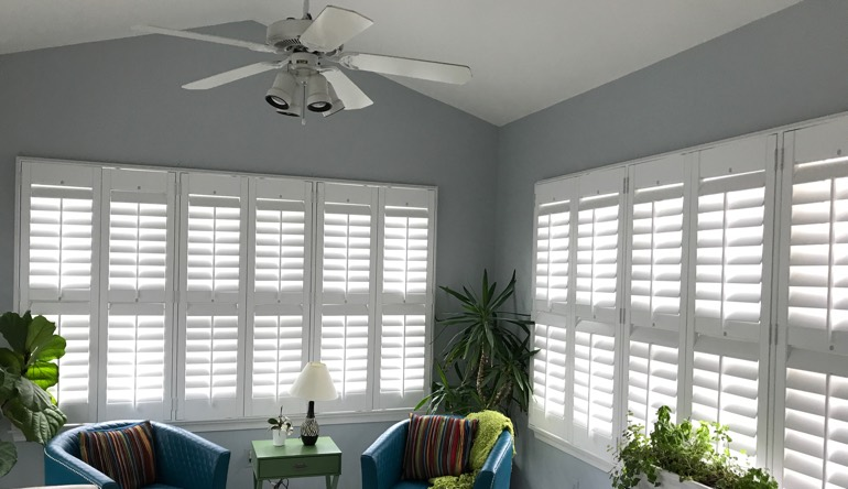 Las Vegas sunroom with fan and shutters