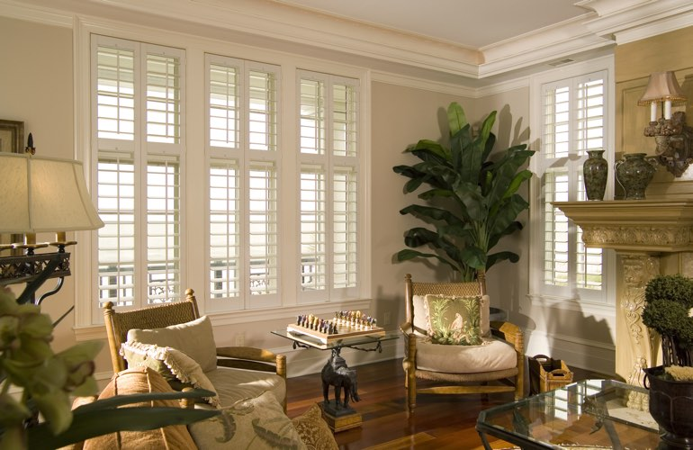 Living Room in Las Vegas with polywood plantation shutters.