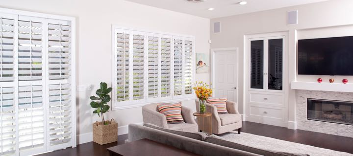 Las Vegas living room in white with plantation shutters.