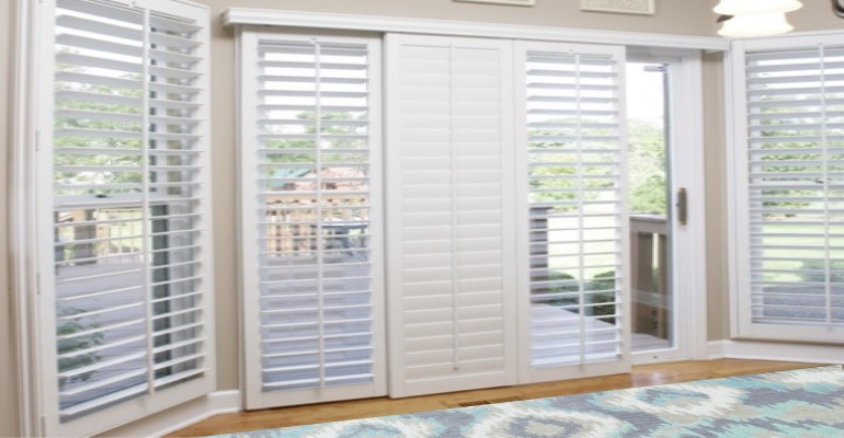 [Polywood|Plantation|Interior ]211] shutters on a sliding glass door in Las Vegas