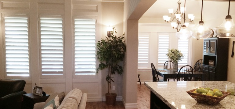 Las Vegas shutters in kitchen and great room