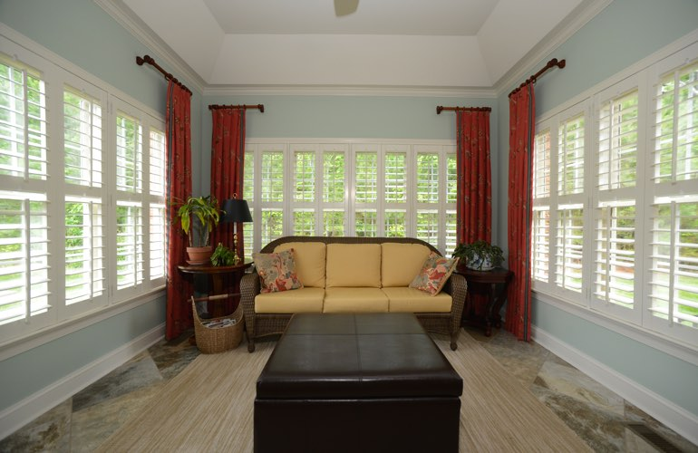 Las Vegas sunroom with beautiful window shutters.
