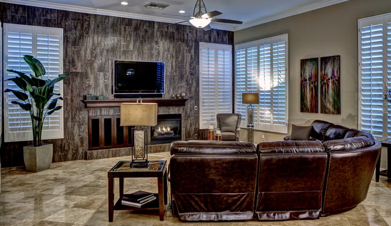 Plantation Shutters In A Las Vegas Living Room.